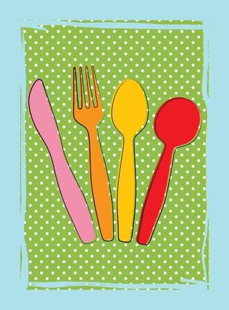 Fond Dinnertime avec des dessins de fourchette, couteau et cuillère (coutellerie) dans de rétros couleurs Vecteurs