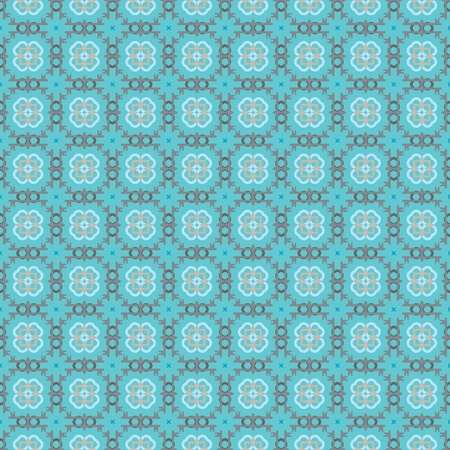 Seamless geometric pattern with flowers in grey, blue, green Vector