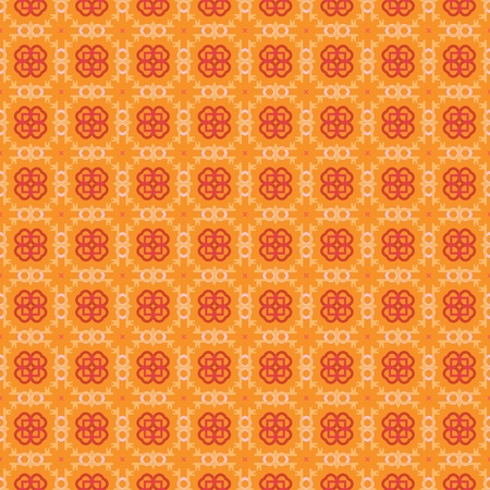 Seamless geometric pattern with flowers in orange, red and pink Stock Vector - 12759594