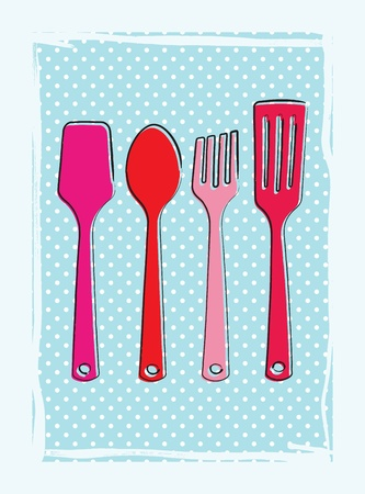 Dinnertime background with drawings of fork, knife and spoon (cutlery) in retro colours Stock Vector - 12759493
