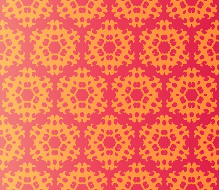 Stylish design with seamless damask flowers in orange on an (editable) red background Vector
