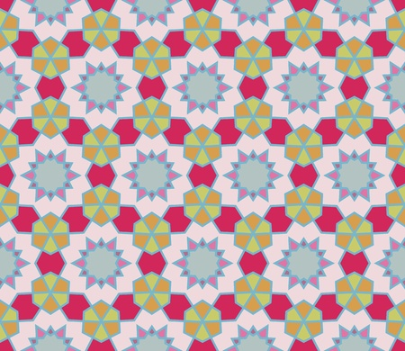 Seamless retro pattern with geometric shapes, lines and stars  Vector
