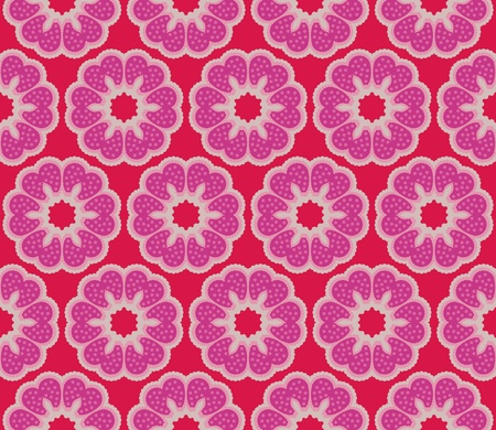 Seamless pattern with romantic flowers with polkadots Illustration