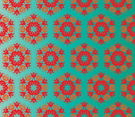 Oriental style seamless pattern with red and orange flowers on a gradient green background Ilustracja