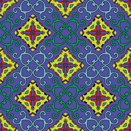 green leafs: Seamless and elegant Baroque pattern with colorful swirls on a dark purple background Illustration
