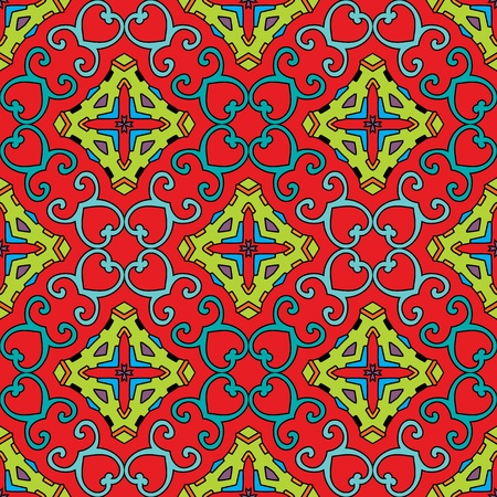 Seamless and elegant Baroque pattern with colorful swirls on a bright red background Vector