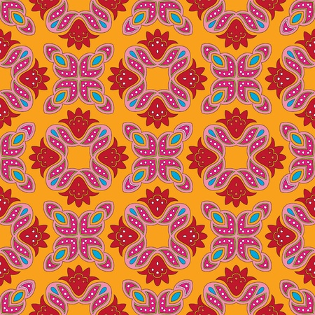 Cheerful, seamless and colorful floral pattern with dots on a bright orange background Vector