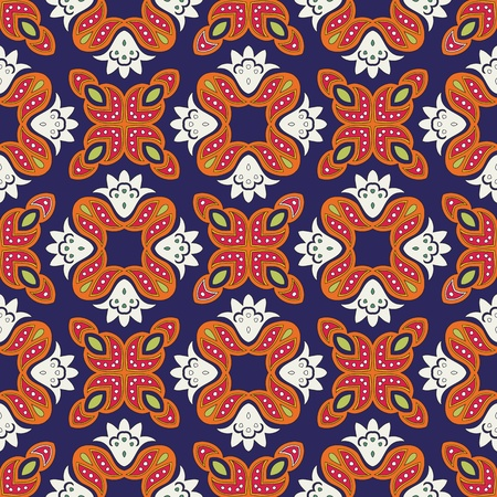 Cheerful, seamless and colorful floral pattern with dots on a dark blue background Vector