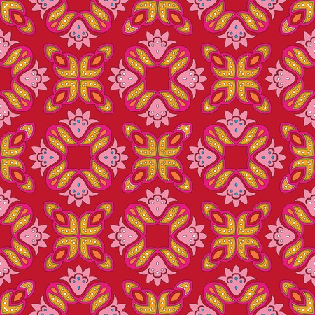 Cheerful, seamless and colorful floral pattern with dots on a bright red background Vector