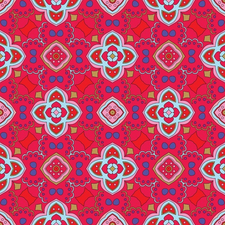 Cheerful, seamless and colorful floral pattern with swirls on a bright red background Vector