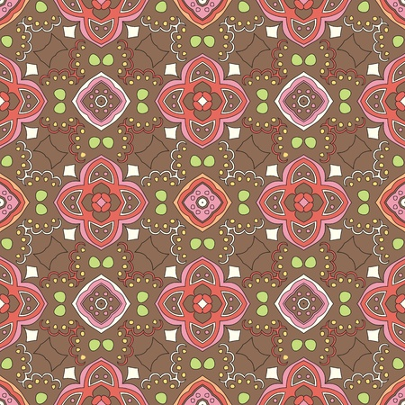 Cheerful, seamless and colorful floral pattern with swirls on a brown background Vector