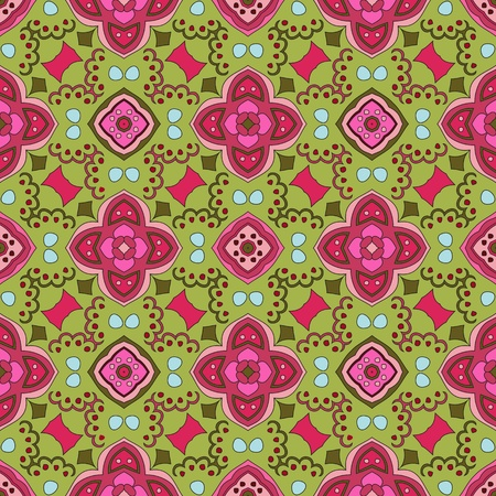 Cheerful, seamless and colorful floral pattern with dots on a green background