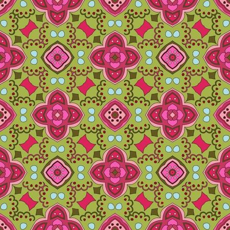 azahar: Estampado de flores Alegre, sin fisuras y con puntos de colores sobre un fondo verde
