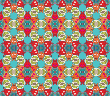 Cheerful, seamless and colorful floral pattern with dots on a blue green background Illustration