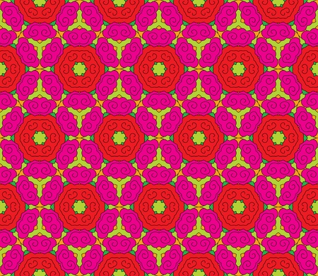 Seamless pattern with romantic pink and red roses with green leaves