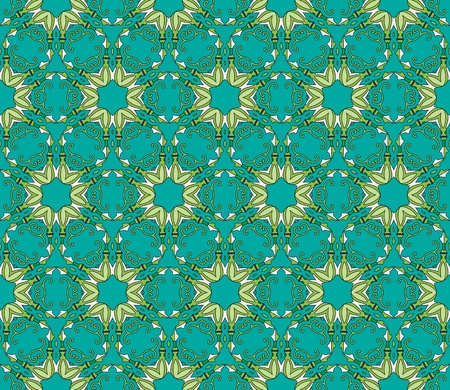 Seamless and elegant Baroque pattern with colorful swirls on a green background
