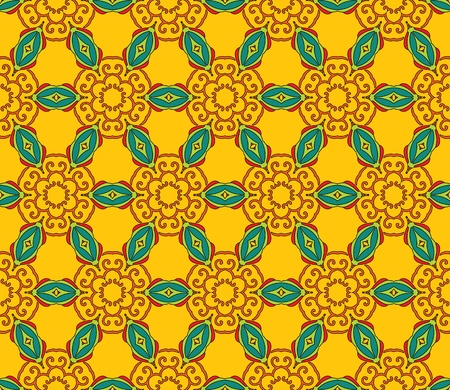 Cheerful, seamless and colorful floral pattern with leaves on a bright yellow background