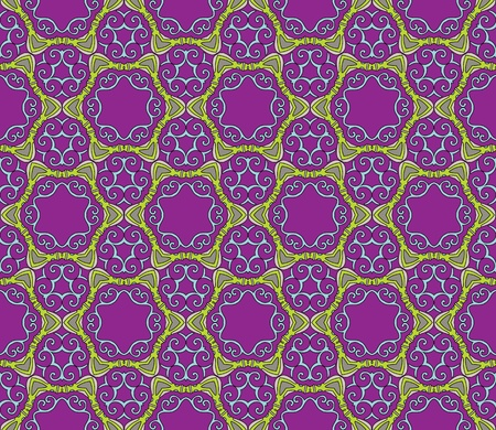 Seamless and elegant Baroque pattern with colorful swirls on a dark purple background Illustration