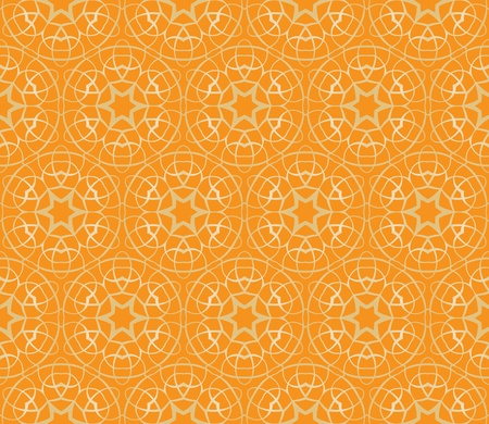 Seamless pattern with squares, lines and stars in shades of orange Vector