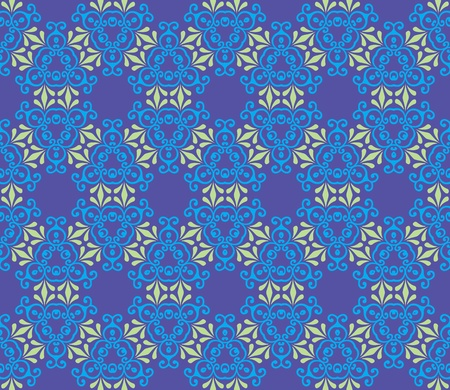 Seamless and elegant Baroque pattern with leaves and swirls on a purple background Vector
