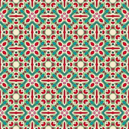 Seamless and elegant Baroque pattern with flowers in pink, red, green, creme white