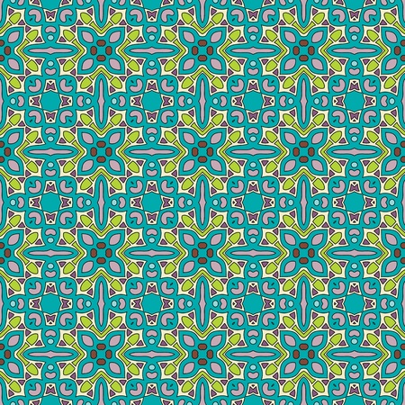 creme: Seamless and elegant Baroque pattern with flowers in green, purple, creme white Illustration