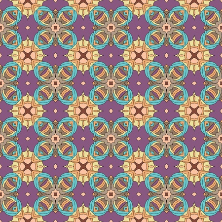Seamless and elegant Baroque pattern with flowers in brown, orange, purple, blue, green