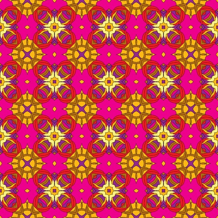 Seamless and elegant Baroque pattern with flowers in pink, red, purple, yellow, orange Illustration