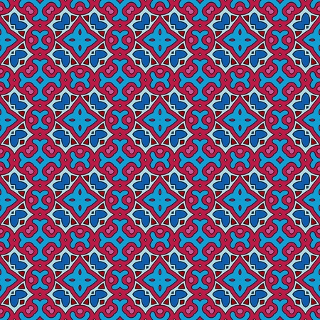Seamless and elegant Baroque pattern with flowers in pink, blue, purple