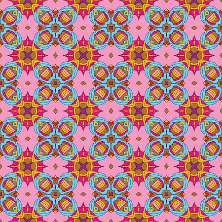 Seamless and elegant Baroque pattern with flowers in pink, brown, blue, purple