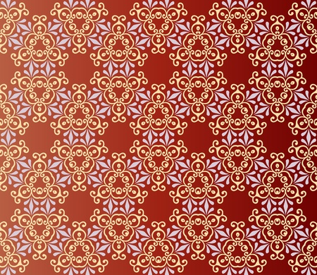 Seamless and elegant Baroque pattern with flowers in brown, orange, grey Vector