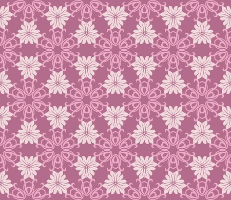 Seamless pattern with romantic flowers in pink and purple Vector