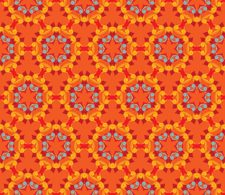 Seamless and elegant Baroque pattern with colorful curls on an orange background