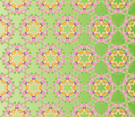 Seamless and elegant Baroque pattern with colorful curls on a gradient green background Illustration
