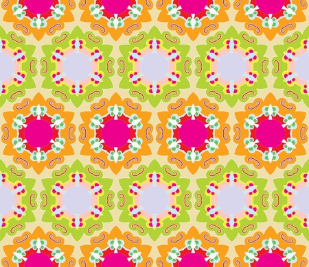 Seamless baroque pattern with stars and flowers in bright colors Illustration