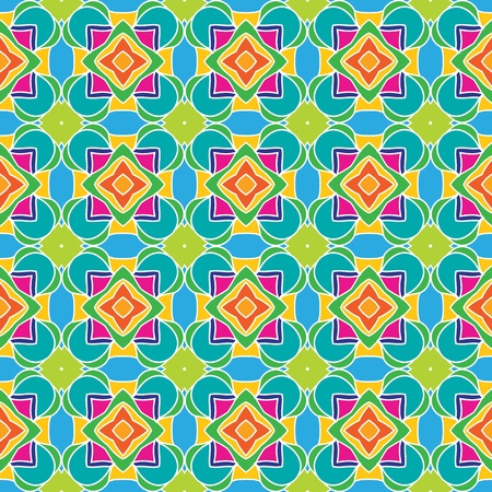Geometric, seamless pattern with squares and stars in bright colors Vector