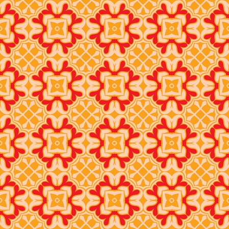 Seamless and elegant Baroque pattern with flowers in peach, orange and red Stock Vector - 12759498