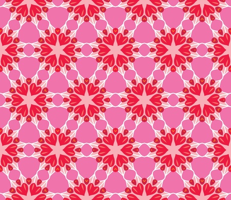 Seamless pattern with romantic flowers with hearts in red, pink and purple Vector