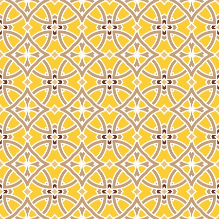 portugese: Design for seamless tiles with geometric lines and squares in brown, yellow