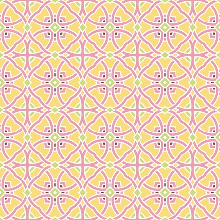 Design for seamless tiles with geometric lines and squares in pink, yellow, green, brown Vector