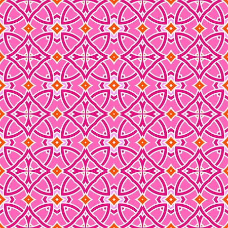 portugese: Design for seamless tiles with geometric lines and squares in pink, orange, red Illustration