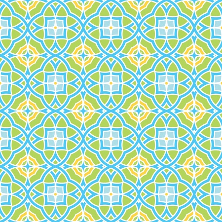 portugese: Design for seamless tiles with geometric lines and squares in blue, yellow, green
