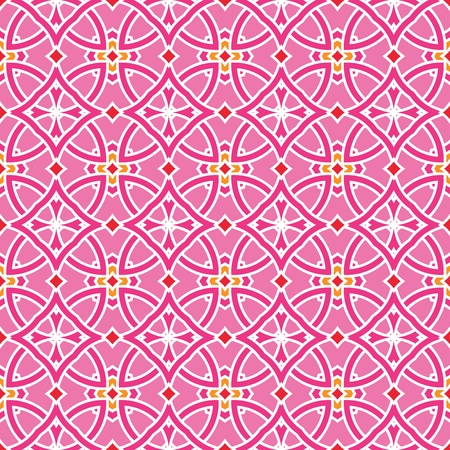 portugese: Design for seamless tiles with geometric lines and squares in pink, yellow, orange, red