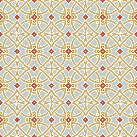 portugese: Design for seamless tiles with geometric lines and squares in grey, brown, oker Illustration