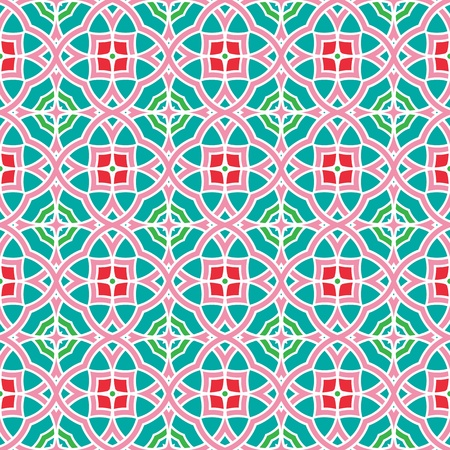 Design for seamless tiles with geometric lines and squares in blue, red, pink, green