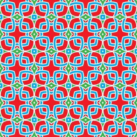 portugese: Design for seamless tiles with geometric lines and squares in red, green, blue