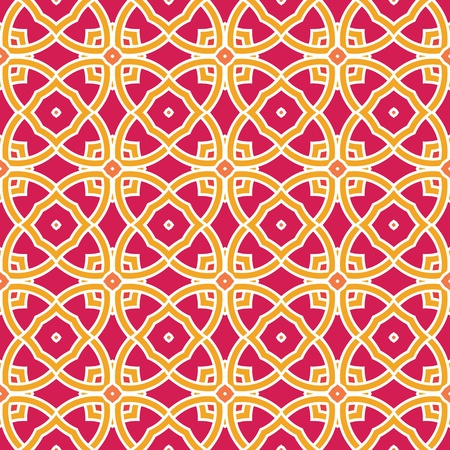 Design for seamless tiles with geometric lines and squares in pink, yellow, orange, red Vector