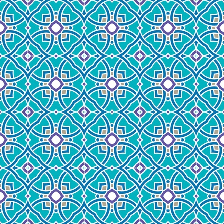 Design for seamless tiles with geometric lines and squares in grey, blue, purple, green Illustration