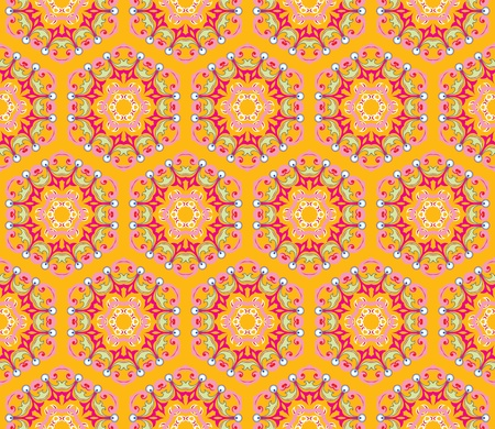Vintage damask wallpaper pattern with abstract flowers and swirls in pink, green, yellow, orange Stock Vector - 12759623