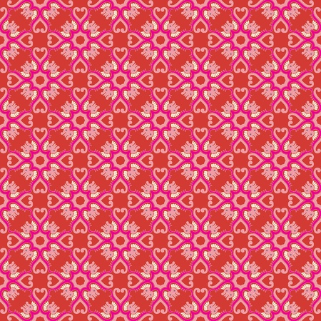 Vintage damask wallpaper pattern with abstract flowers and swirls in red, pink, creme, brown, grey